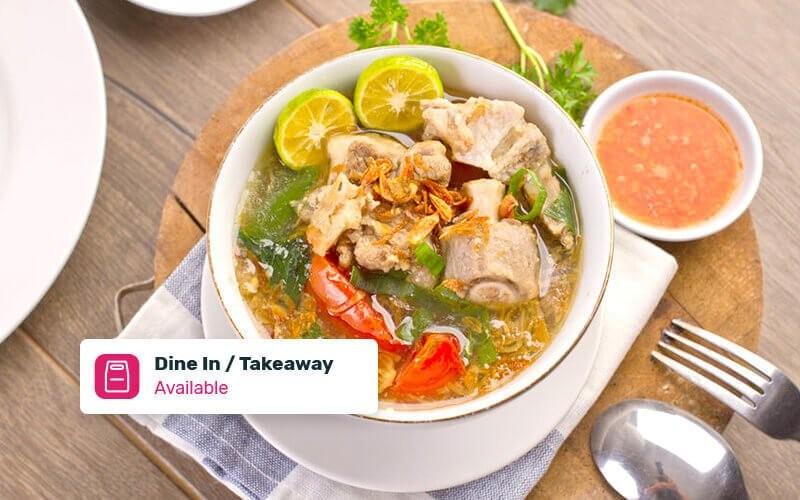 Soto Rawon + Nasi Putih + Ice Tea Untuk 1 Orang - Dine In & Take Away