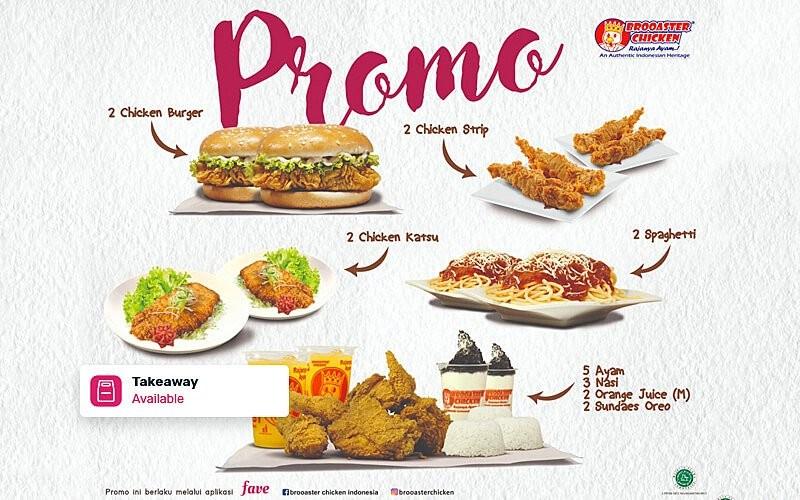 [#FAVE1111] Buy 1 Get 1 untuk Menu Pilihan di Brooaster Chicken - Take Away