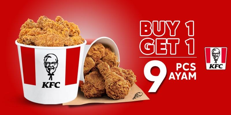 KFC Buy 1 Get 1 Bucker Ayam 9 Pcs - Promo Spesial WIB