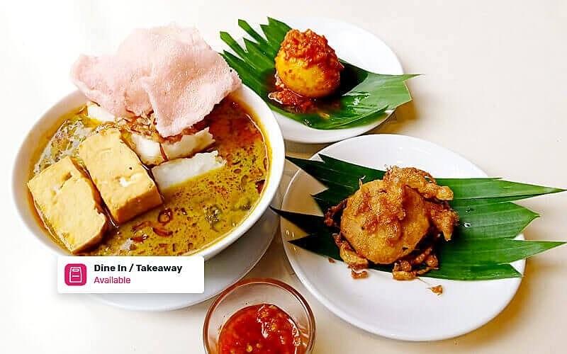 1 Porsi Lontong Sayur Telur Balado dan Perkedel + Tahu - Dine in & Take Away