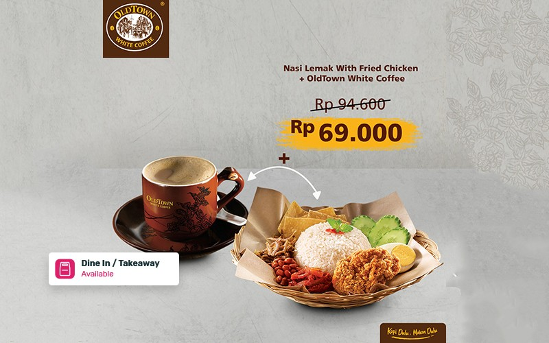 Nasi Lemak Fried Chicken + OldTown White Coffee