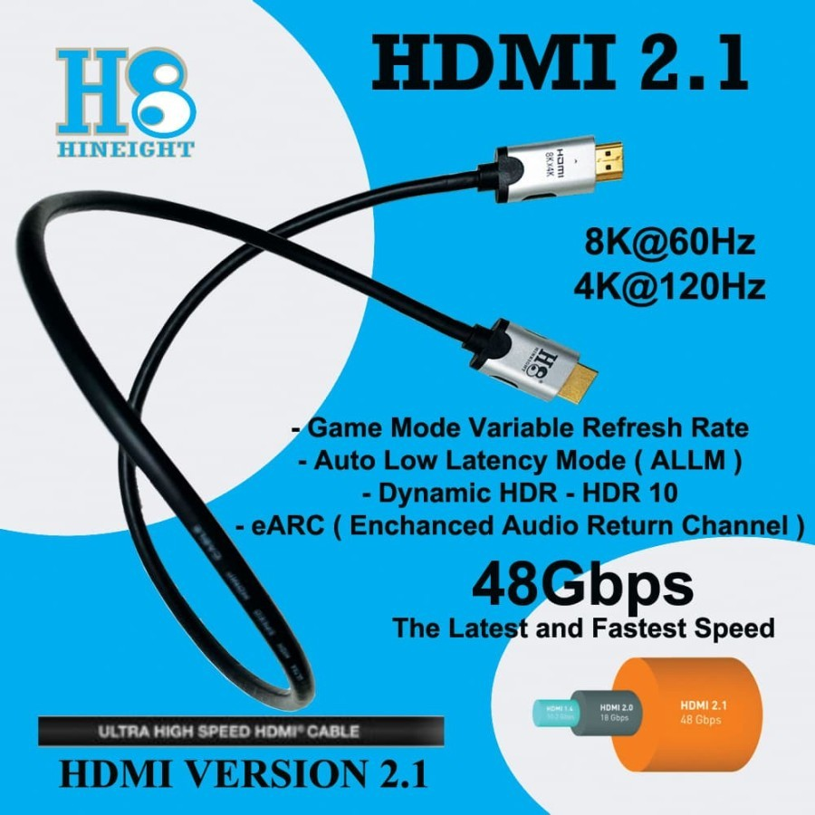 Kabel HDMI To HDMI 2.1 Ultra High Speed 8Kx4K 4320P 60Hz 1 Meter (HINEIGHT(H8))