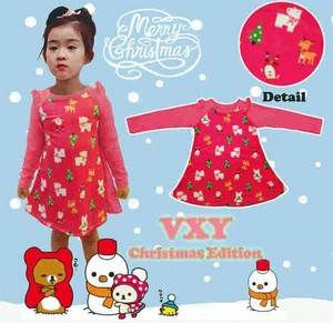 DRKD22 - Dress Christmas Santa Bear Print Murah