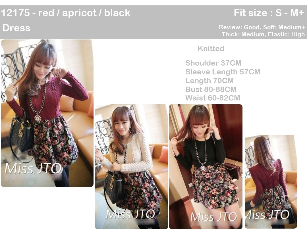 Knitted Dress (Red, Black, Apricot) - 12175