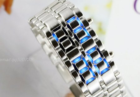 Jam Tangan Iron Samurai Silver LED Blue Watch - JM0001