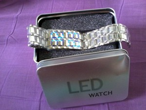 Jam Tangan Iron Samurai Silver LED Blue Watch - JM0001