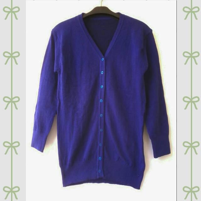 Basic Cardigan Size Warna Biru Elektrik