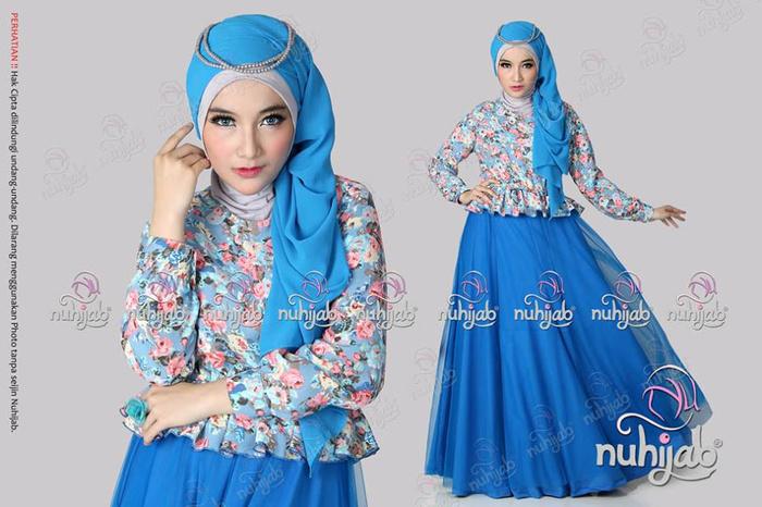 Jual Nuhijab Ftd Floria Tutu Dress Blue Rgk Shop