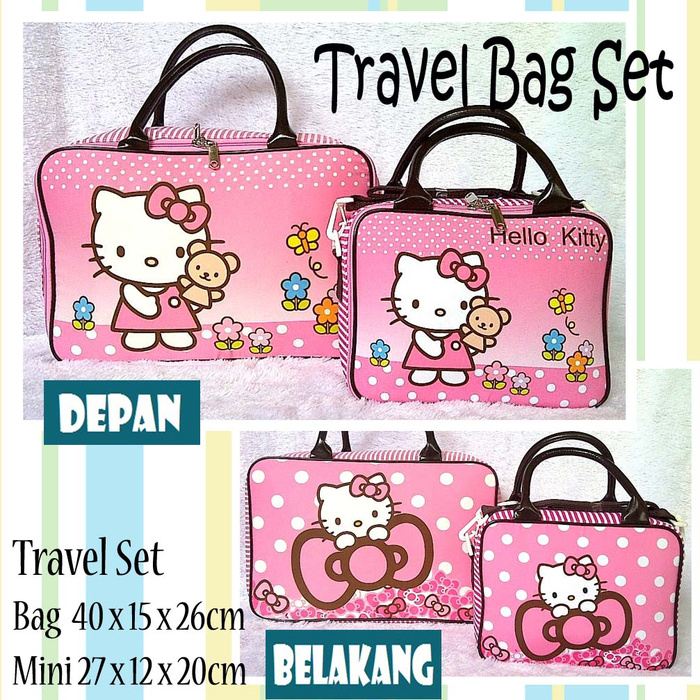 Tas Travel Kanvas Set HelloKitty Pita