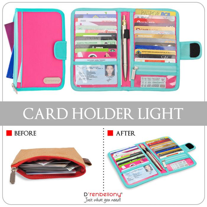 Card Holder Light D'renbellony (Dompet Kartu tuk Wanita & Pria Branded Dompet Organizer Wallet Keren) Magenta
