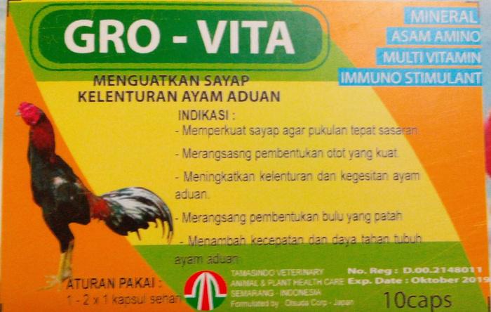 Gro-Vita - Menguatkan sayap, kelenturan sayap ayam aduan