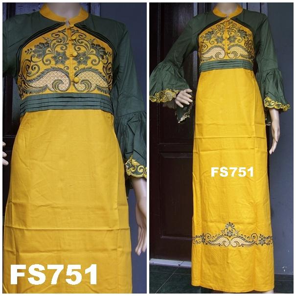 Jual Gaun Pesta Gamis Katun Kancing Depan Fikashop Fs751