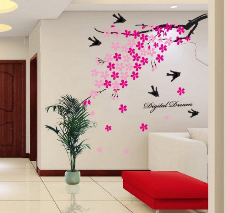 jual stiker dinding sakura walet pink - kota surabaya - wallsticker