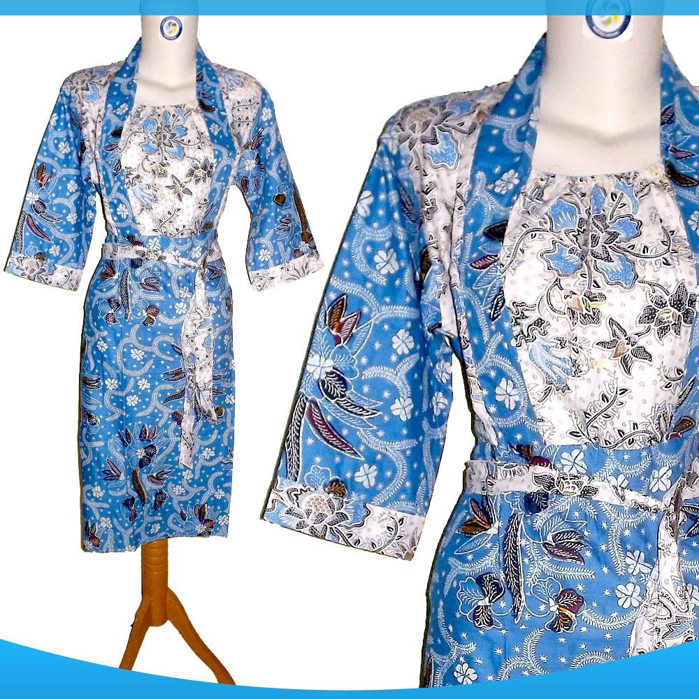 Jual Dress Free Ongkir Batik Dress Warna Biru Muda Biru