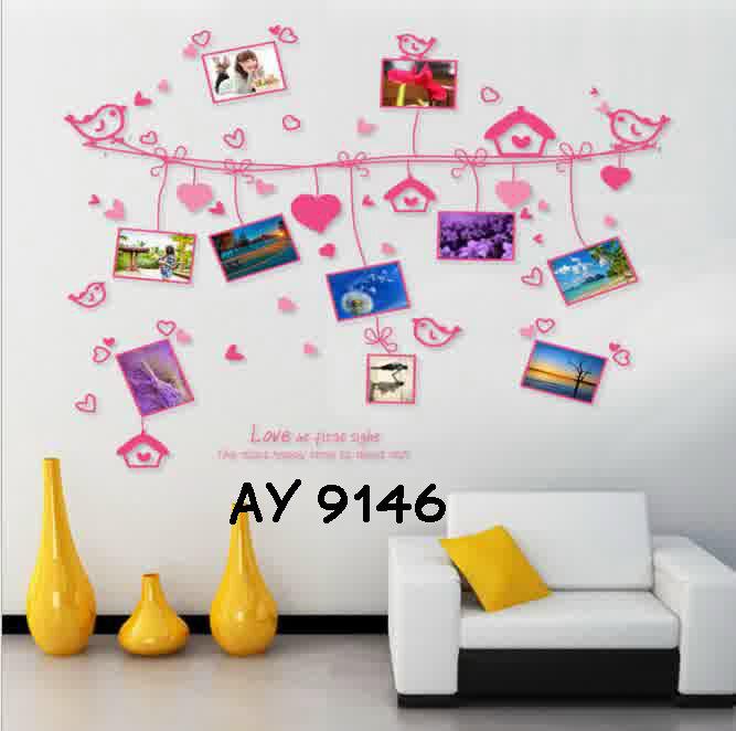 jual wallsticker uk.60x90 wall sticker frame pink - dina wallsticker