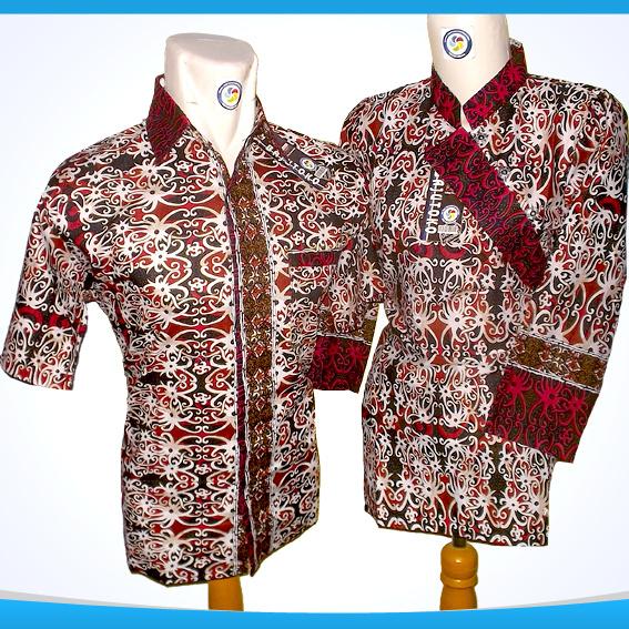 Jual Baju Batik Couple Batik Pasangan Warna Merah Cewek