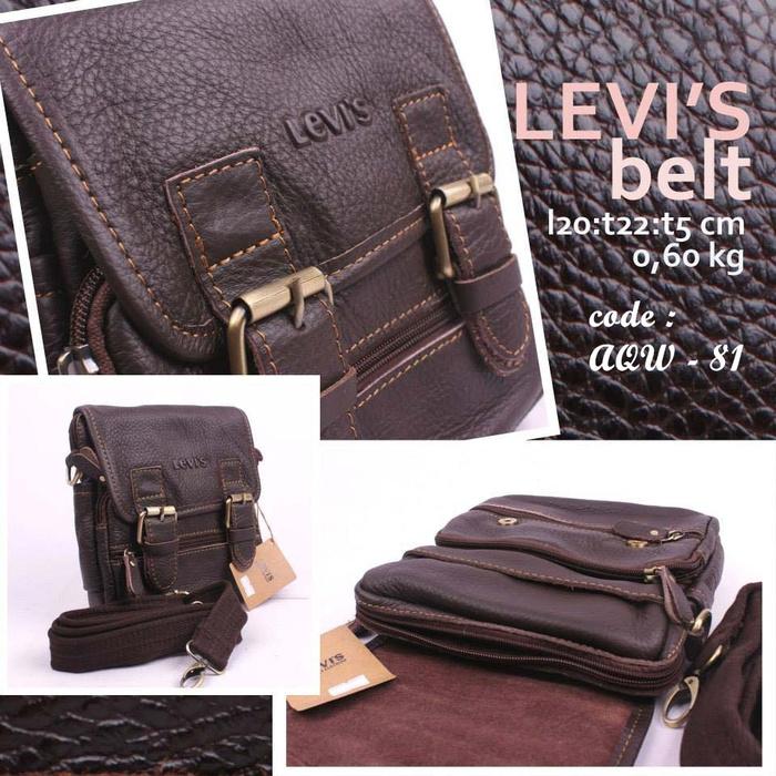 Tas selempang pria leather kulit levi's (import)