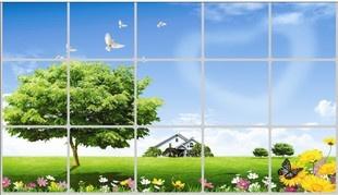Stiker / Wallpaper Dinding Dapur Anti-Minyak Motif Pemandangan Desa Dengan Awan Berbentuk Hati [025089]