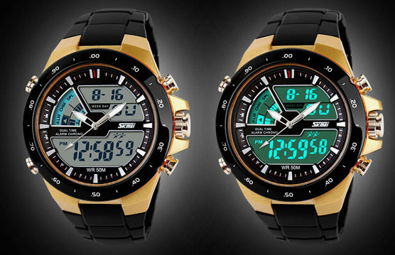 MODEL TERBARU BIZEN SKMEI + BOX Dual Time Zone Digital 5 ATM Waterproo