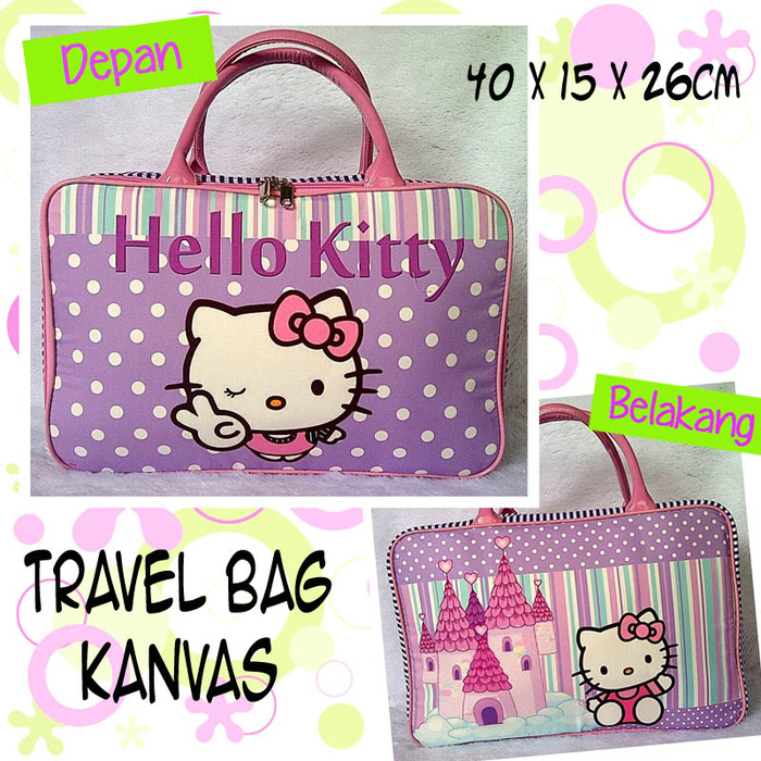 Travelbagmurah Travel Bag Kanvas Hellokitty Ungu Daftar Harga Source · Tas Travel Kanvas Hello Kitty Polkadot Ungu