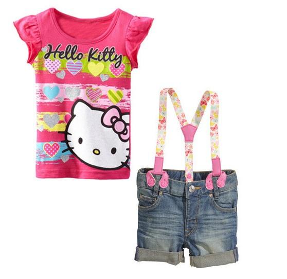 Baju setelan anak perempuan 3 in1 HK kaos hello kitty celana pendek ...