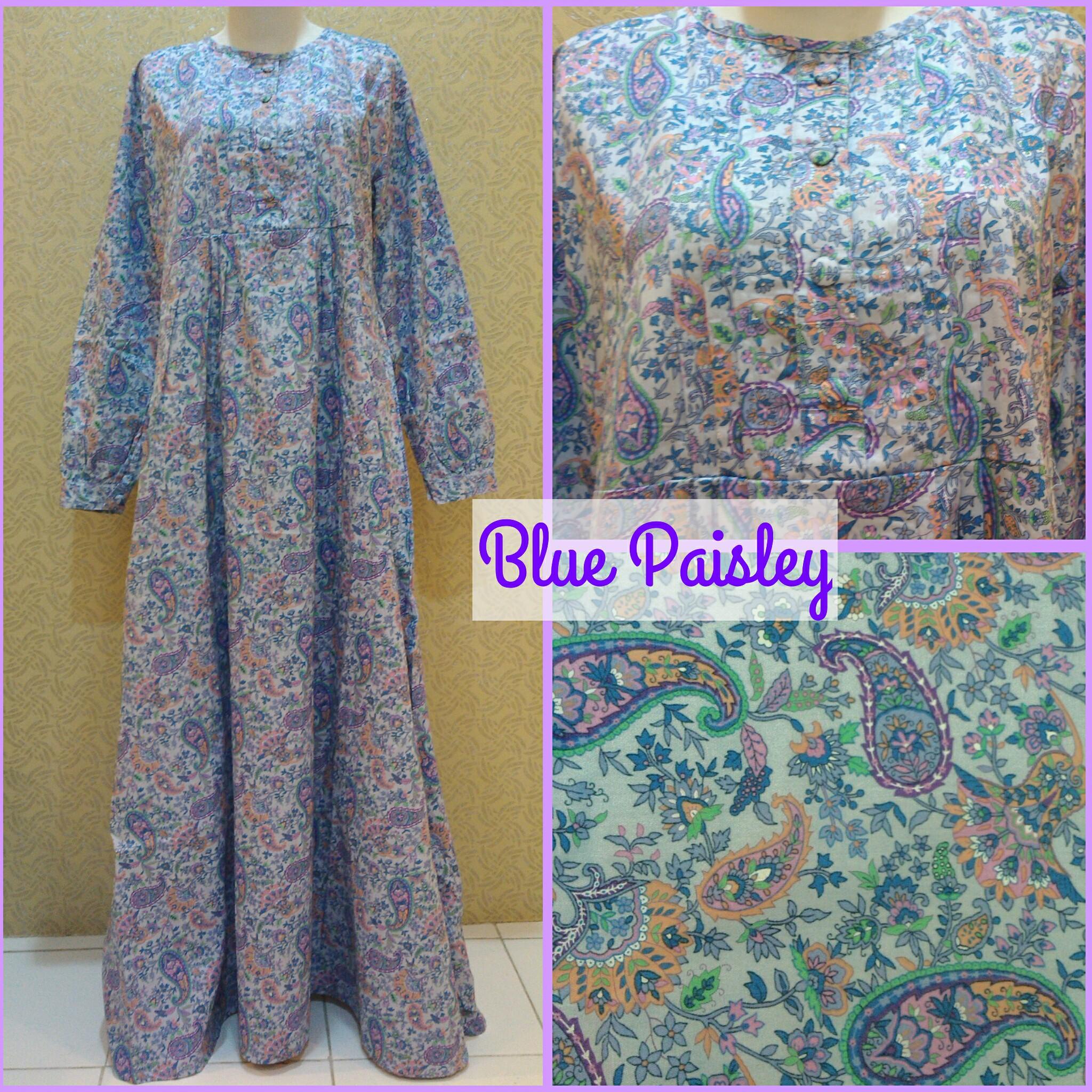Jual Gamis Katun Jepang Blue Paisley Delonix Hijab