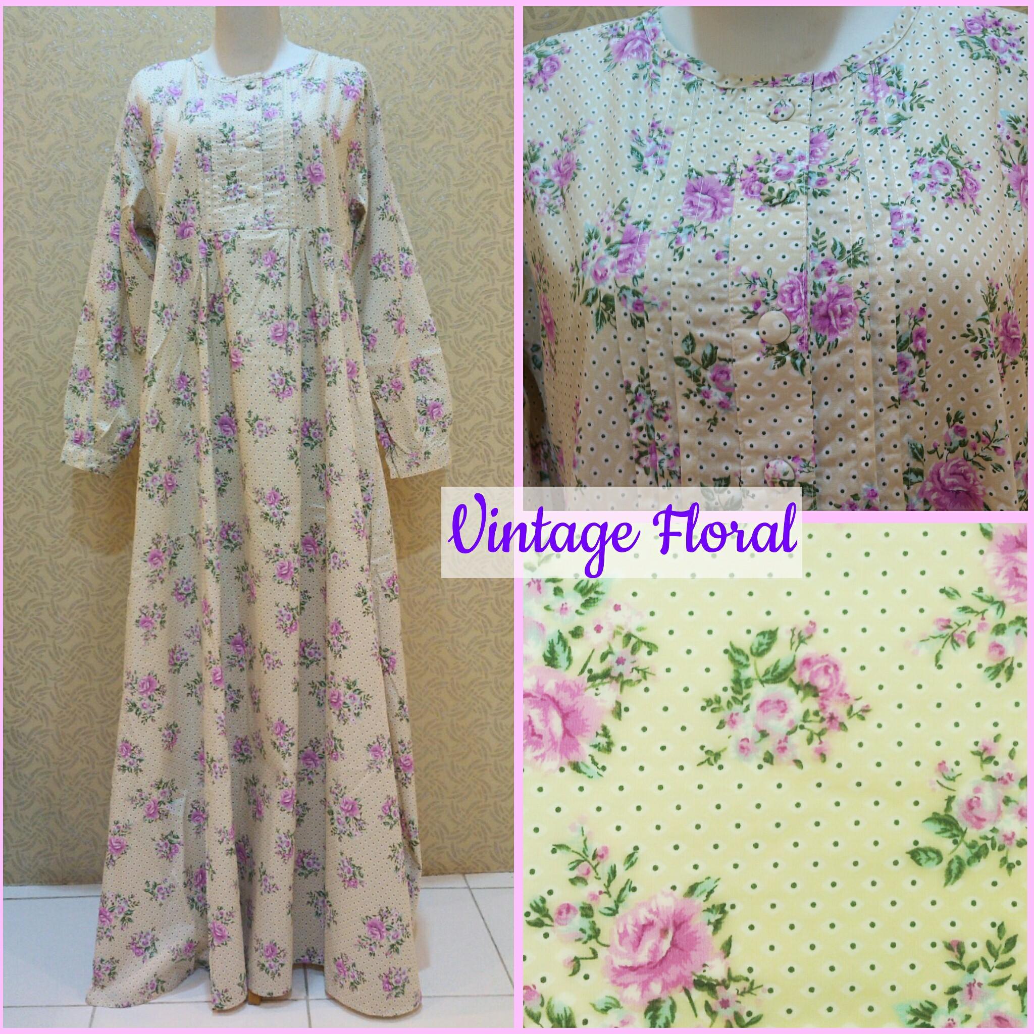 Jual Gamis Katun Jepang Vintage Floral Delonix Hijab