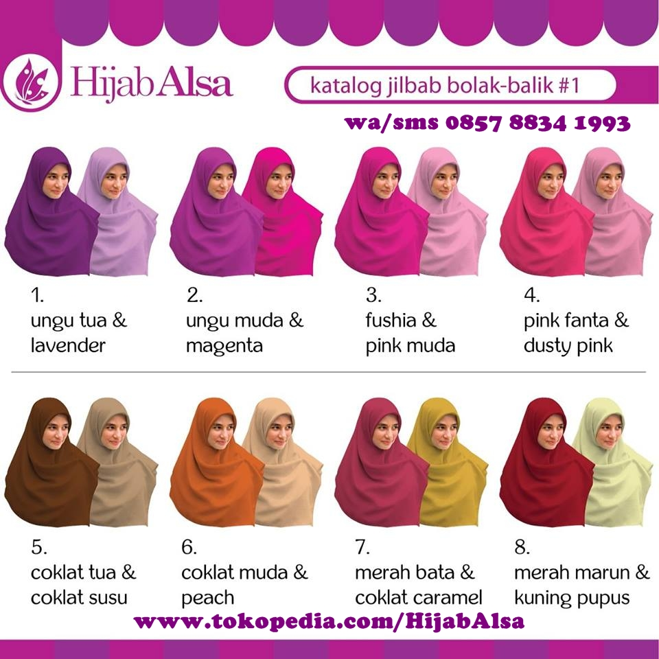 SELL Hijab Alsa Jilbab Segi Empat Bolak Balik 2 Warna Jilbab Syar