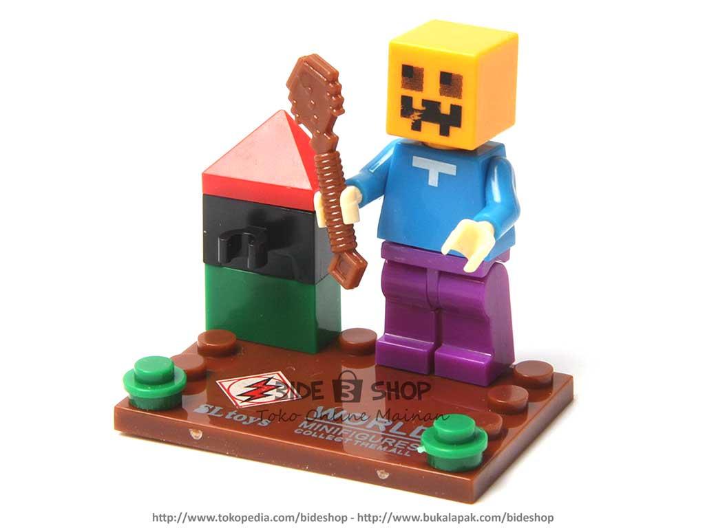 Jual lego sl toys minecraft pumpkin minifigure no. sl 8906 - bide shop