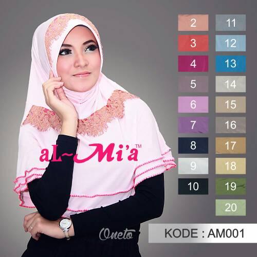 Jual jilbab pet bergo al mia original toko millie Baju gamis almia terbaru