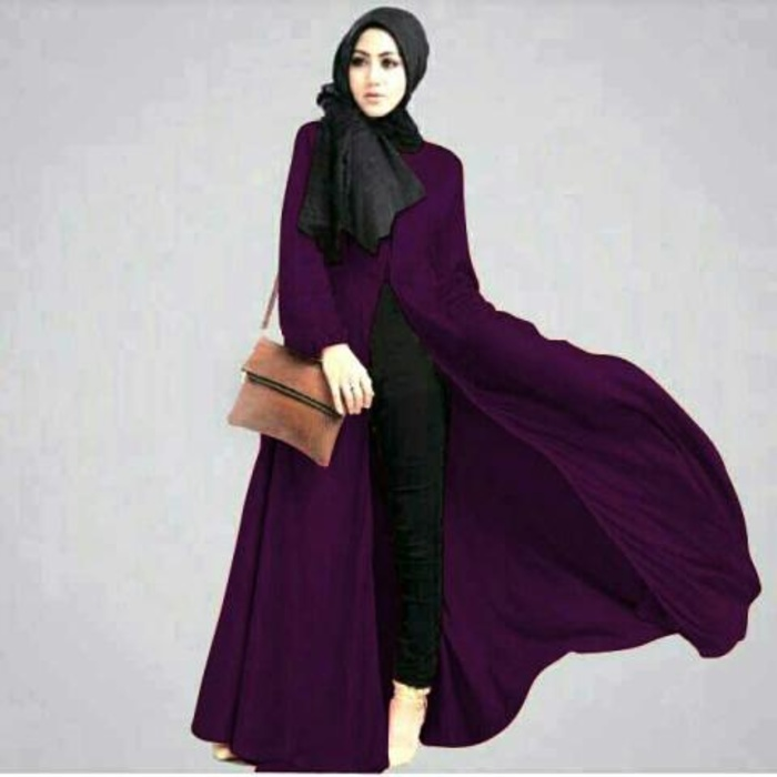 Setelan 3in1 hijab fashion Lisyah dark purple