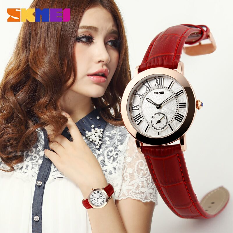 SKMEI Fashion Casual Ladies Leather Strap Watch 30m - 1083CL Red 1083