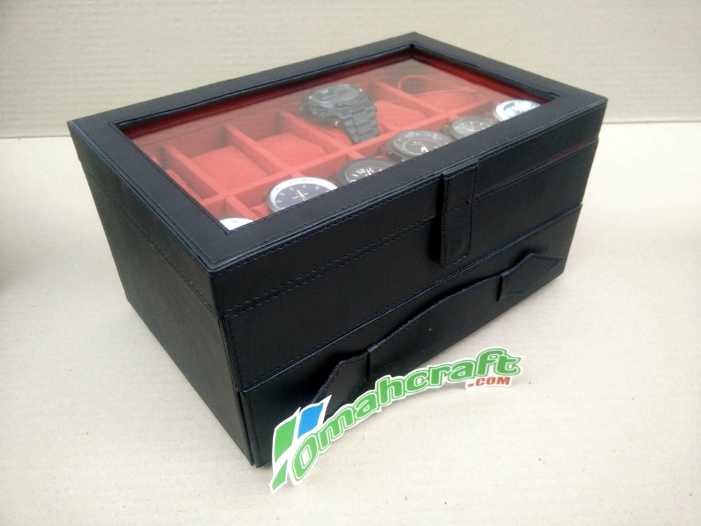 BLACK IN RED / TEMPAT JAM TANGAN ISI 12 MIX LACI PERHIASAN DAN ACC