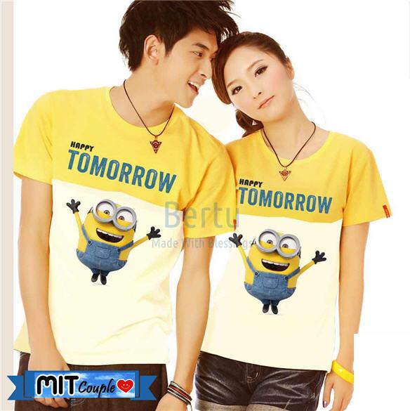 Jual Kaos Couple Lengan Pendek / Baju Pasangan Minion happy tomorrow - Grosir Baju Couple :