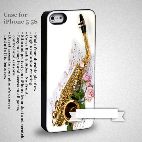 Saxophone and Rose Note Music iPhone 5 or 5S Case