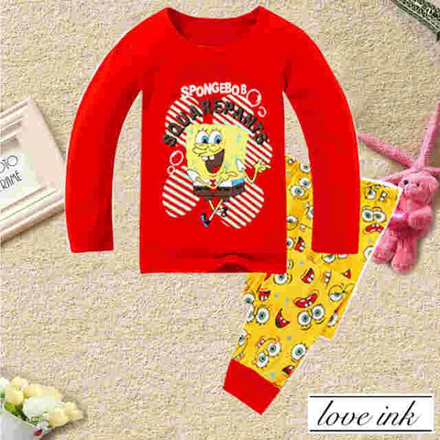 STKDL153 - Setelan Anak Piyama Spongebob Red