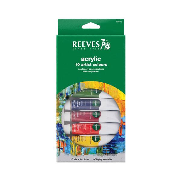REEVES Acrylic Paint Set 10 Pcs (22 Ml Tube)