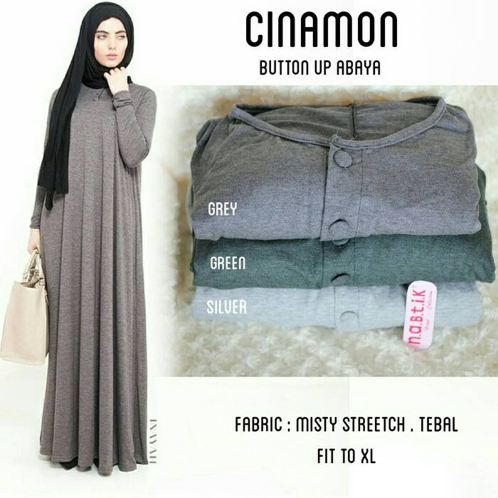 supplier baju hijab : cinamon dress ori by nabtik / abaya polos