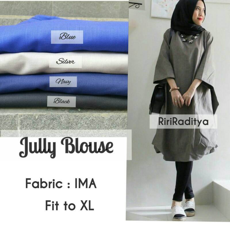 supplier baju hijab : jully blouse ori by riri / tunik hijab
