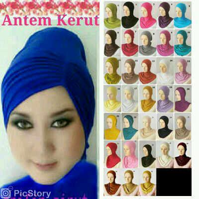 inner hijab/daleman kerudung/ciput ninja antem (anati tembem) kerut