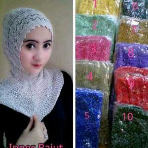 inner jilbab/inner hijab rajut glitter antem(anti tembem)