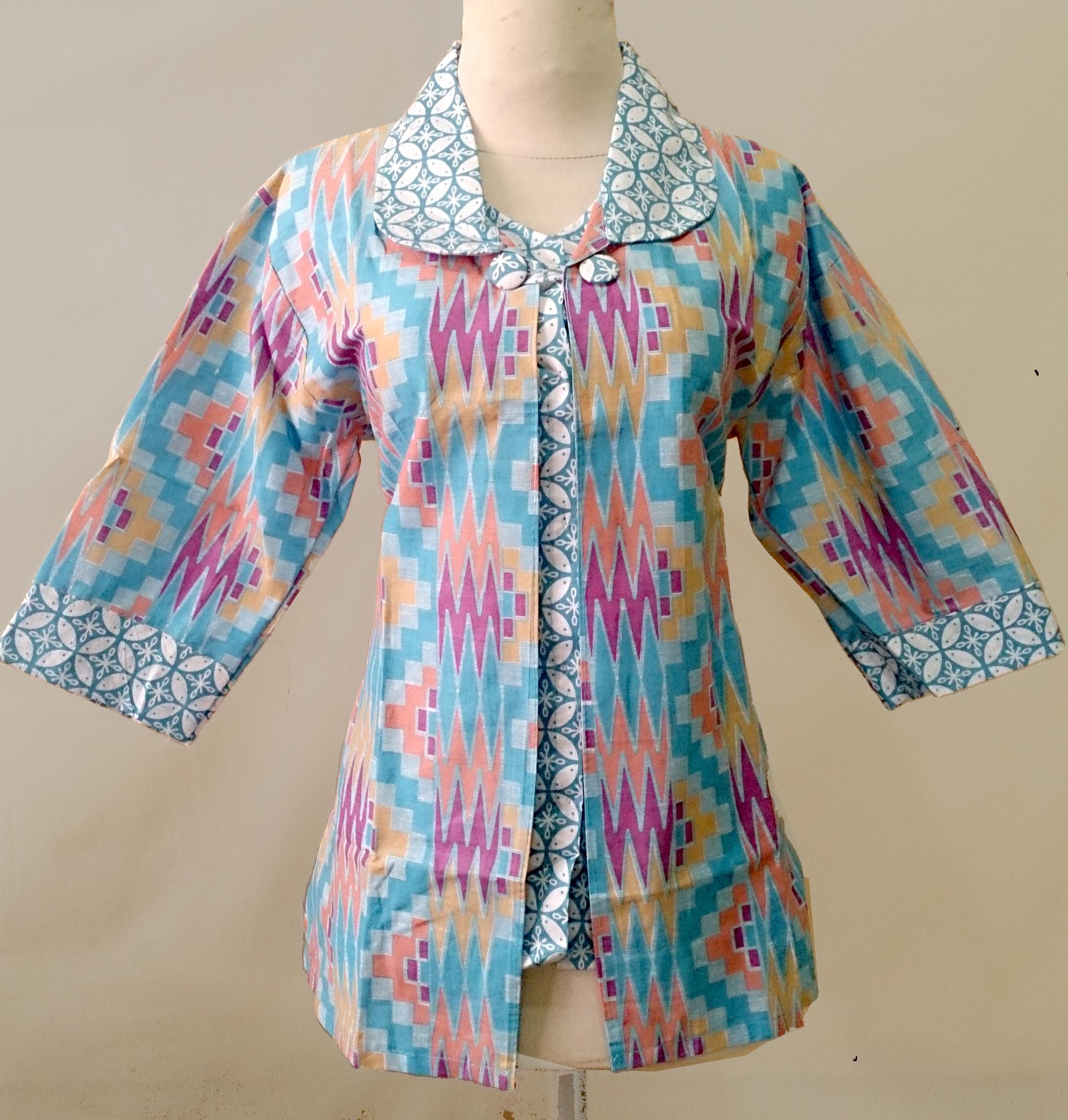 Blus baju batik modern kantoran wanita Model Blus Batik 5252f88889