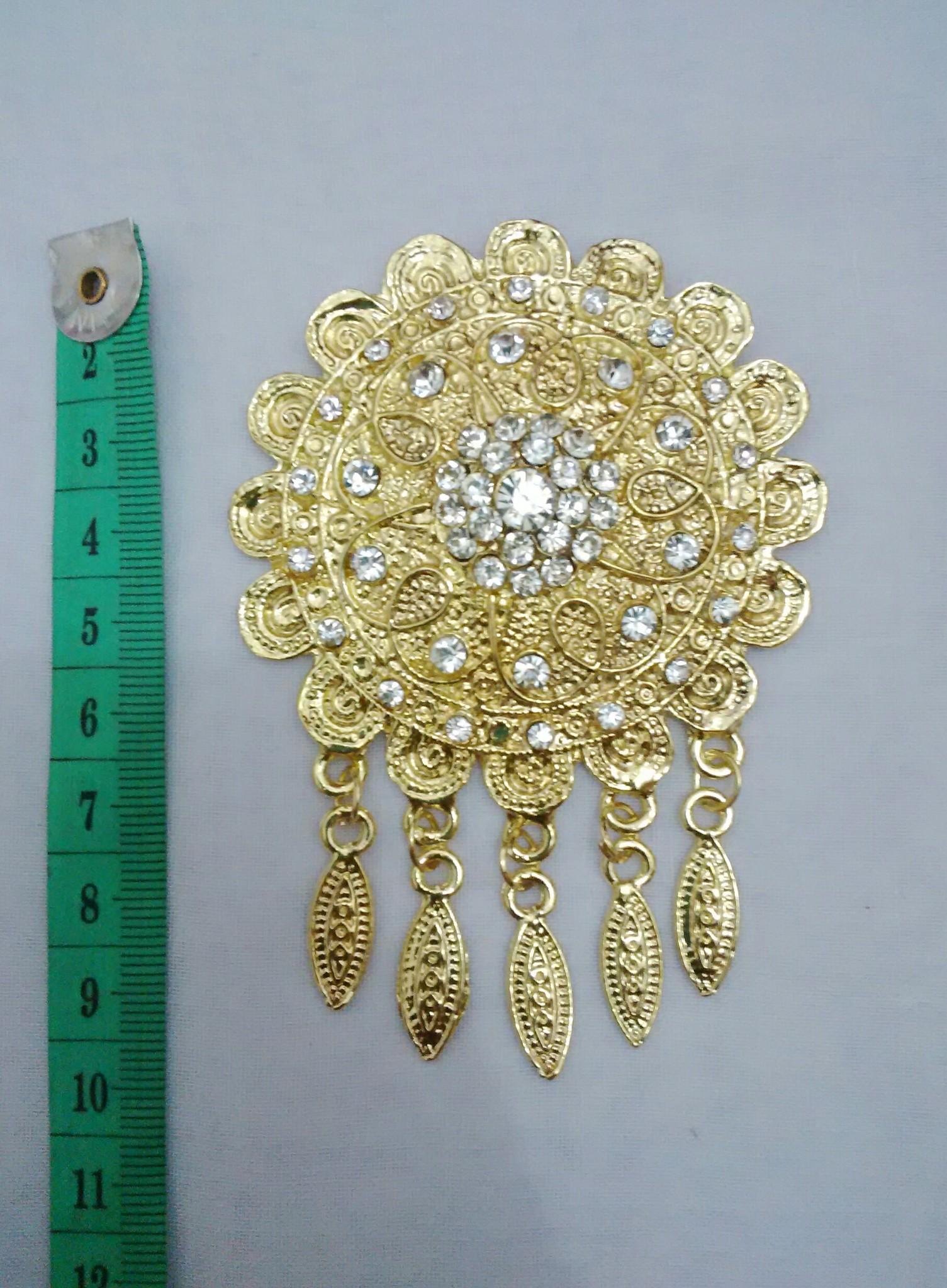 Bros kebaya/hijab metal juntai 1 tingkat gold swarovski/permata putih