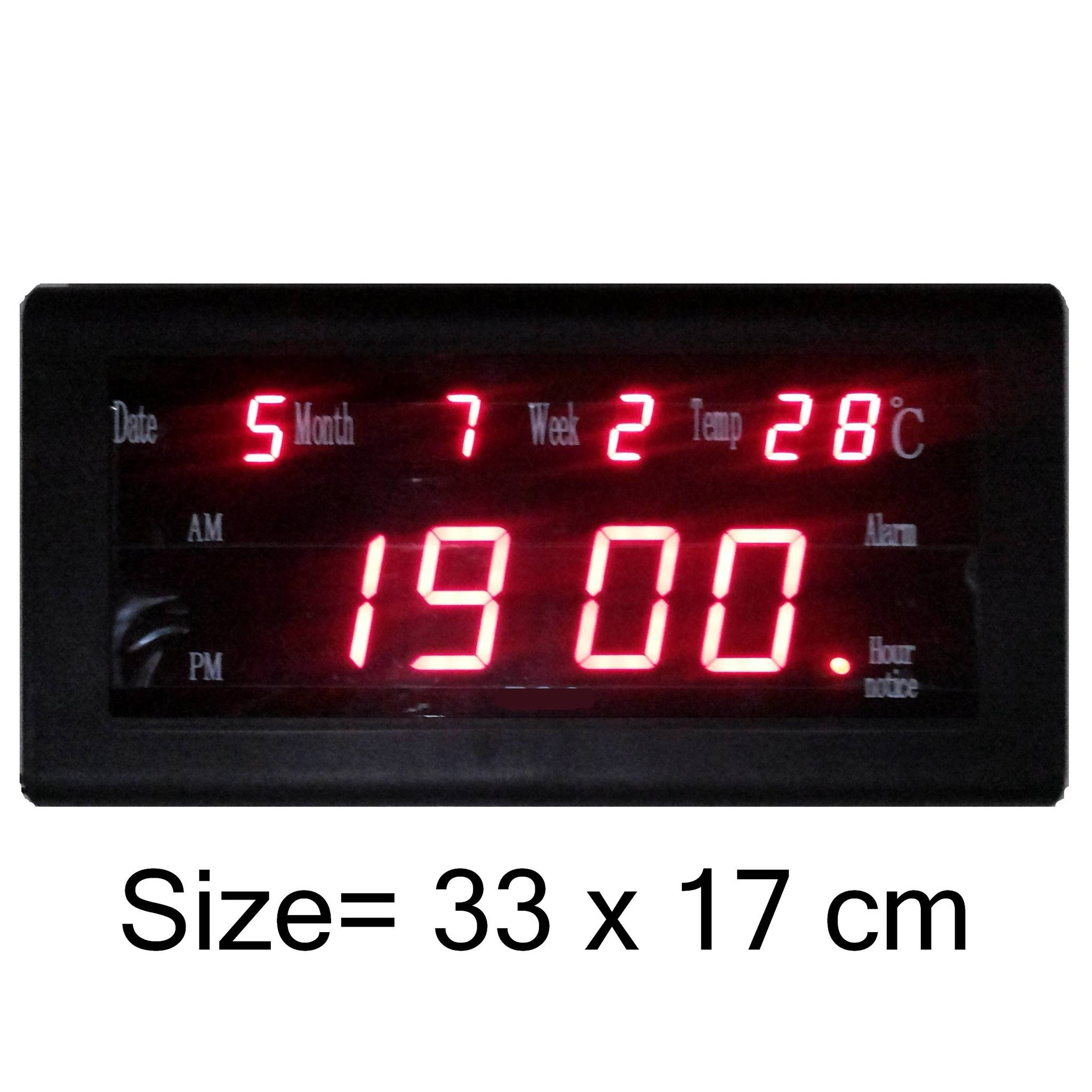 Jual Jam Dinding Digital LED Digital Ukuran Besar 33 cm x 17 cm +Themometer -