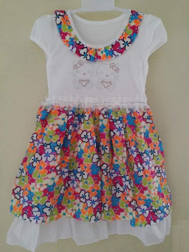DRKD58 - Dress Anak Hello Kitty Twin Flower Murah