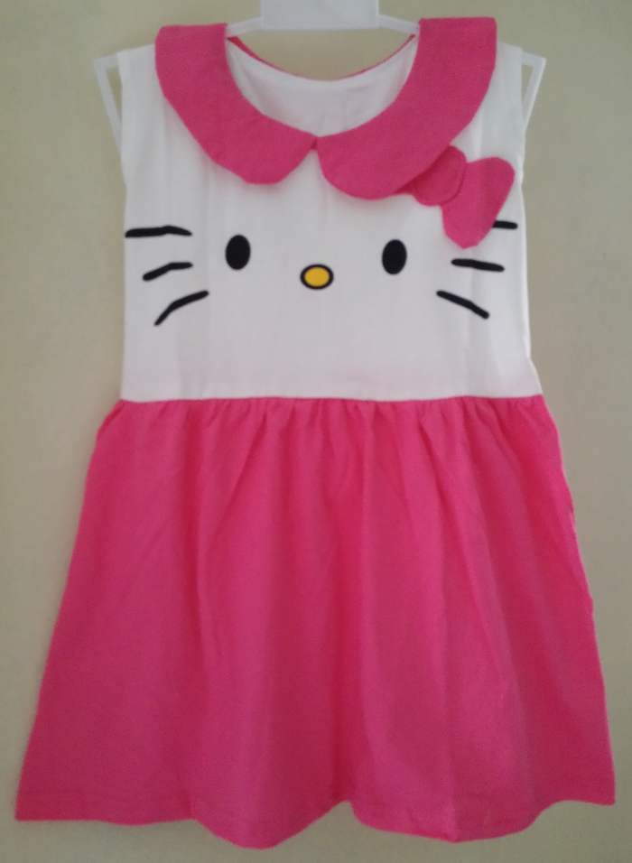 DSKDHK21 - Dress Anak Tanktop Hello Kitty Ribbon Pink Murah