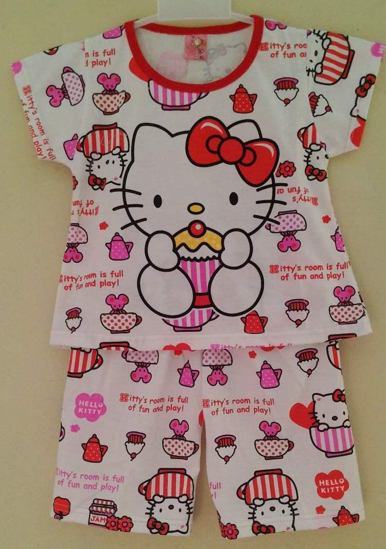STKDHK103 - Setelan Anak Hello Kitty Cupcake Red