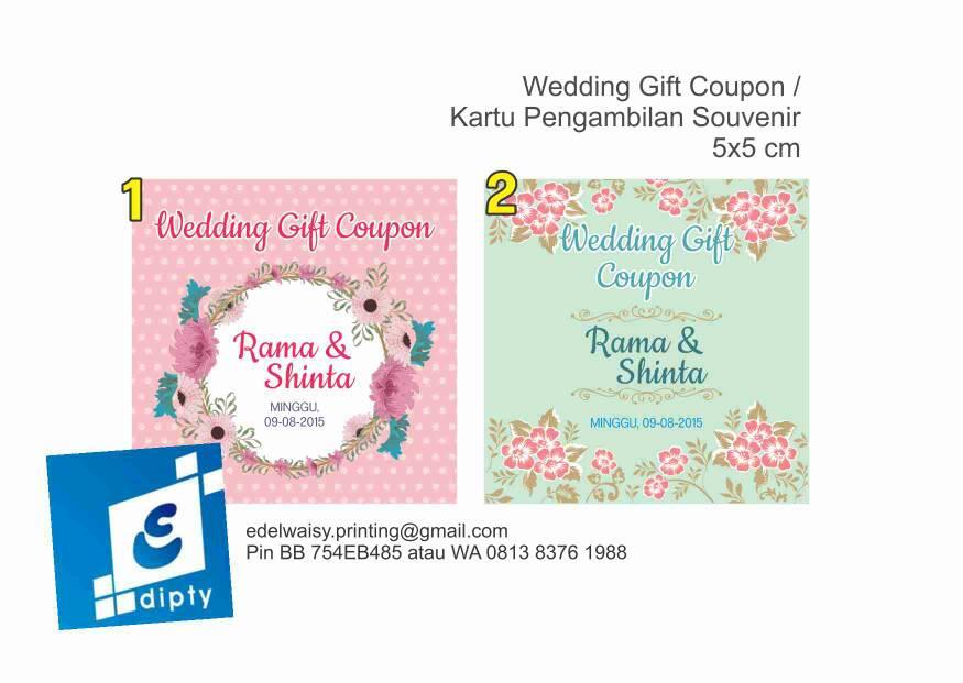 jual kupon souvenir pernikahan kartu penukaran souvenir