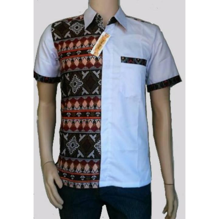 Jual Hem Batik Kombinasi Polos  Kemeja Batik Pria Warna Putih