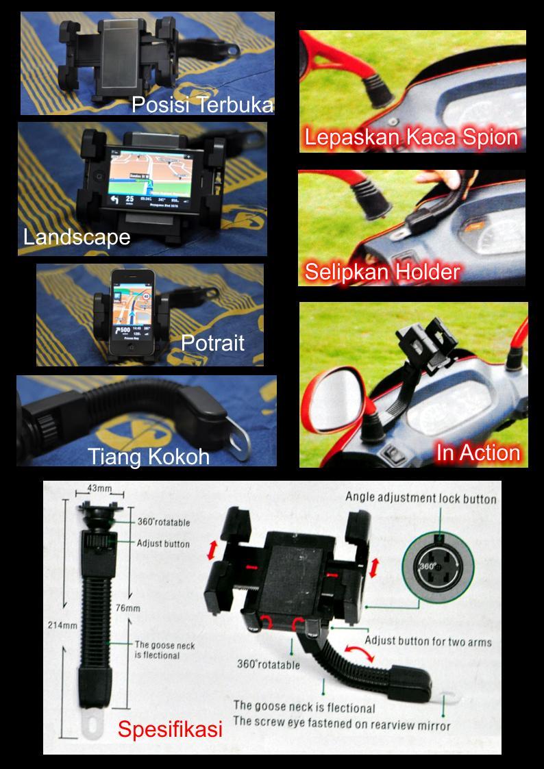 Holder GPS di Motor , Sepeda Universal ~ model Stang dan Fleksibel